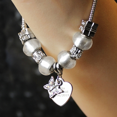 Personalised Butterfly & Heart Charm Bracelet - Ice White - 18cm