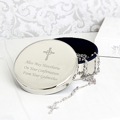 Personalised Rosary Beads and Cross Round Trinket Box