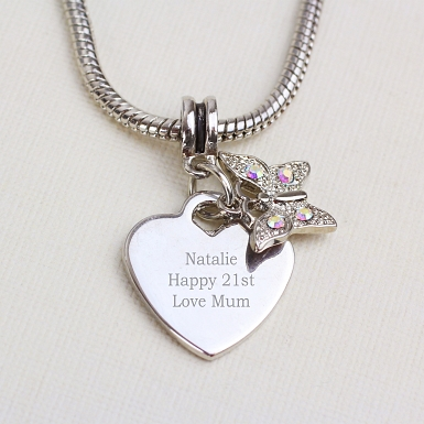 Personalised Butterfly Charm Necklace delivery to UK [United Kingdom]