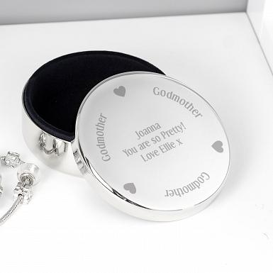 Personalised Godmother Round Trinket Box