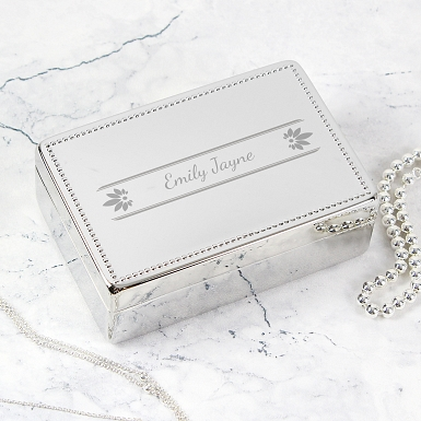 Personalised Petals Rectangular Jewellery Box