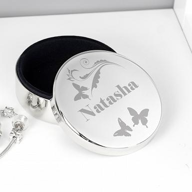 Personalised Butterfly Swirl Round Trinket Box
