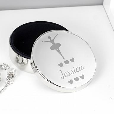 Personalised Ballerina Round Trinket Box