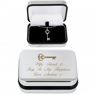 Personalised Ornate Key Necklace & Box