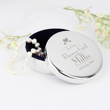 Personalised Decorative Wedding Flower Girl Round Trinket Box