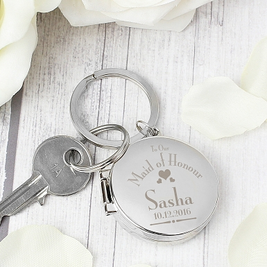 Personalised Decorative Wedding Maid of Honour Round Photo Keyring