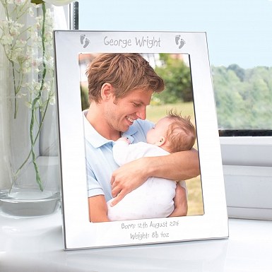 Personalised Silver 5x7 Footprints Photo Frame