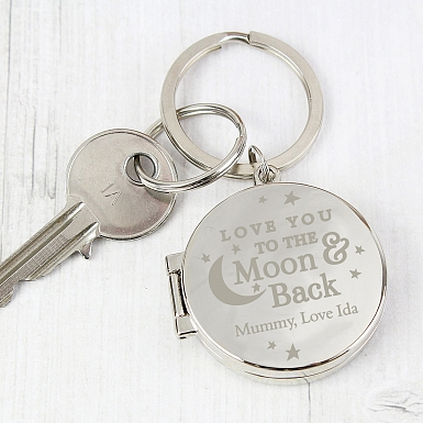 Personalised To the Moon and Back Photo Keyring