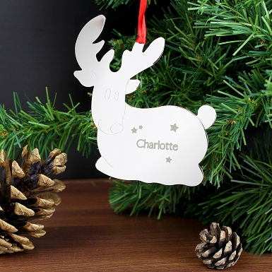 Personalised Reindeer Name Only Tree Decoration