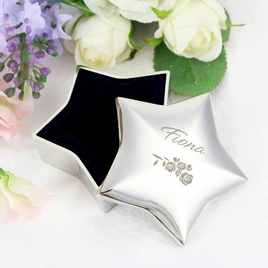 Personalised Vintage Rose Star Trinket Box