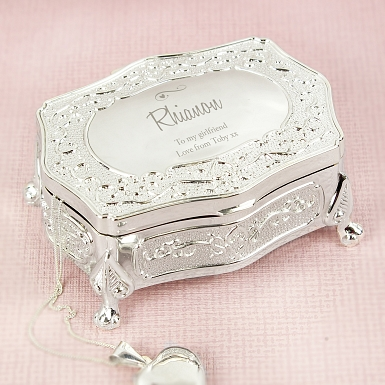 Personalised Swirls & Hearts Small Antique Trinket Box