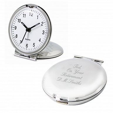 Personalised Round Travel Clock
