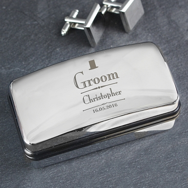 Personalised Decorative Wedding Groom Cufflink Box