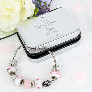 Personalised Decorative Wedding Maid of Honour Silver Box and Candy Pink 21cm Charm Bracelet