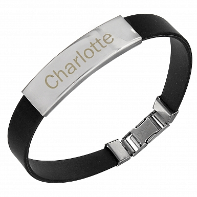 Personalised Stainless Steel Men Black Bracelet delivery to UK [United Kingdom]