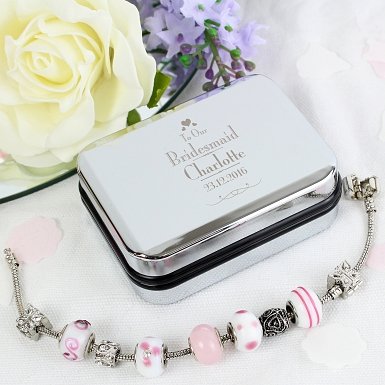 Personalised Decorative Wedding Bridesmaid Silver Box and Candy Pink 18cm Charm Bracelet