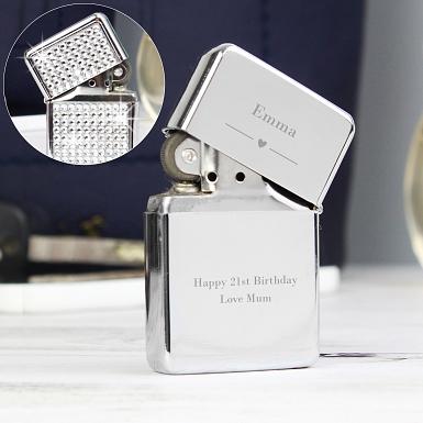 Personalised Decorative Heart Diamante Lighter