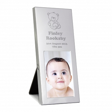 Personalised Teddy Small Silver 2x3 Photo Frame