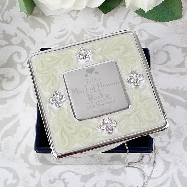 Personalised Decorative Wedding Maid of Honour Square Diamante Trinket Box
