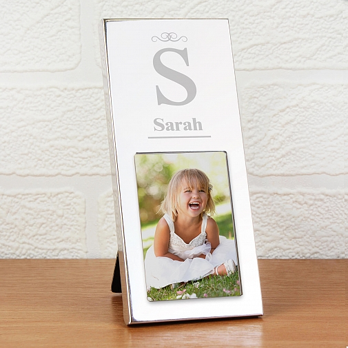 Personalised Small Silver Initial 2x3 Photo Frame