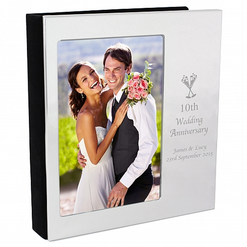Personalised Flute Wedding Anniversary Photo Frame Album 6x4
