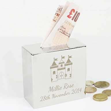 Personalised Castle Square Money Box