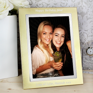 Personalised Gold Silver Brushed 5x7 Photo Frame