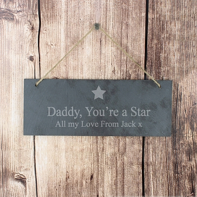 Personalised Star Motif Hanging Slate Plaque