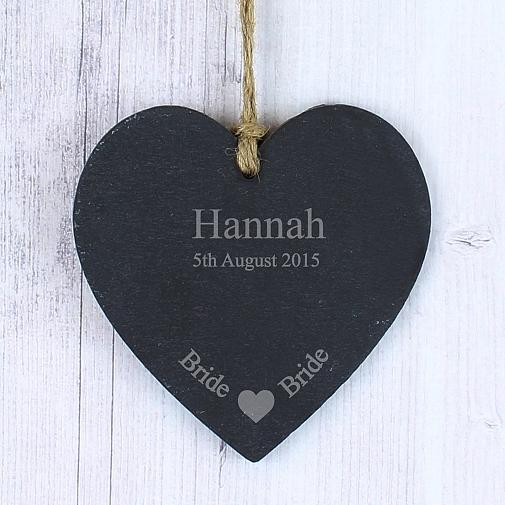 Personalised Bride Slate Heart Decoration