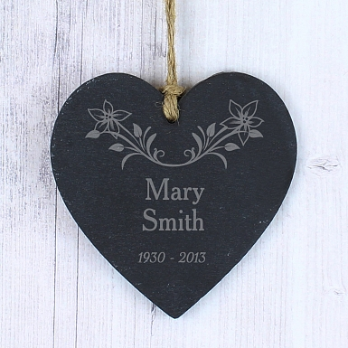 Personalised In Loving Memory Floral Slate Heart