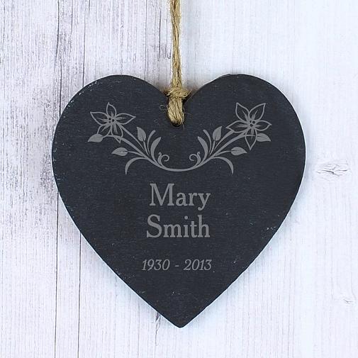 Personalised In Loving Memory Floral Slate Heart