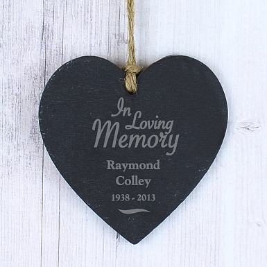 Personalised In Loving Memory Slate Heart