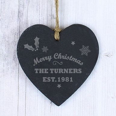 Personalised Merry Christmas Slate Heart