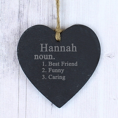 Personalised Word Definition Slate Heart Decoration