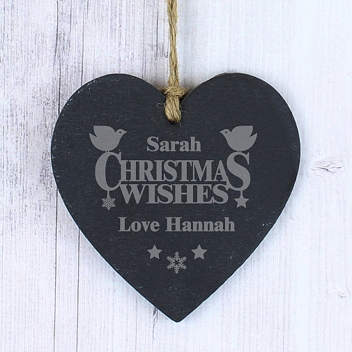 Personalised Christmas Wishes Slate Heart
