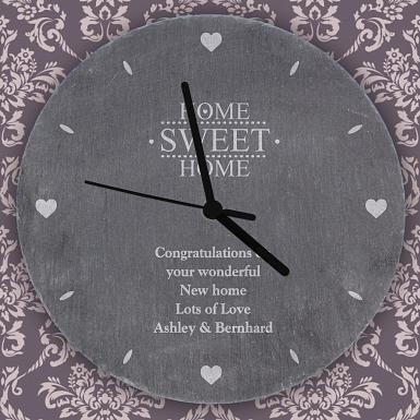 Personalised Home Sweet Home Slate Clock