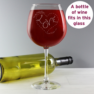 Personalised Heart Stitch Love Bottle of Wine Glass