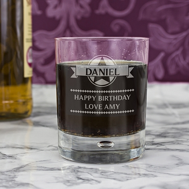 Personalised Diamond Tumbler Bubble Glass