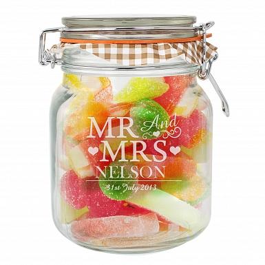 Mr and Mrs Glass Kilner Jar