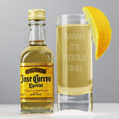 Personalised Shot Glass and Miniature Tequila - Text Only