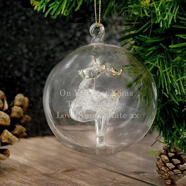 Personalised Glass Reindeer Bauble