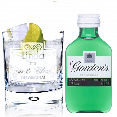 Personalised Gin O'Clock Glass & Gin Miniature Set
