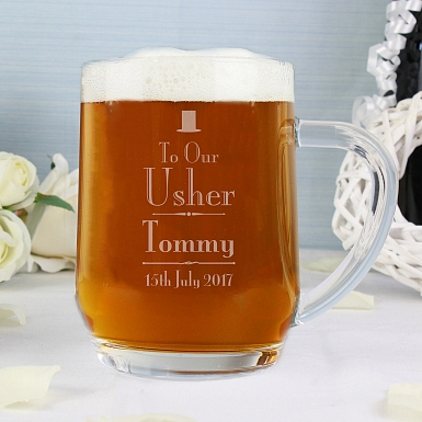 Personalised Decorative Wedding Usher Tankard