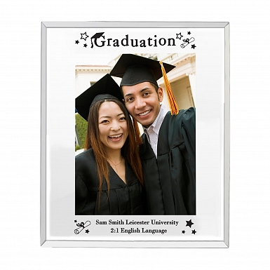 Personalised Mirrored Graduation Glass Photo Frame 5x7