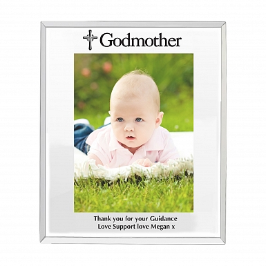 Personalised Mirrored Godmother Glass Photo Frame 5x7