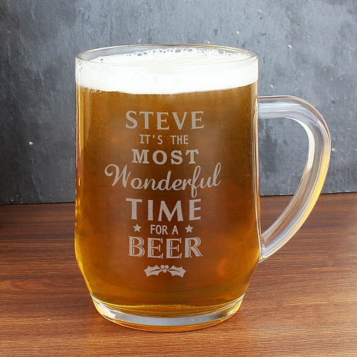 Personalised Wonderful Time For A Beer... Glass Tankard