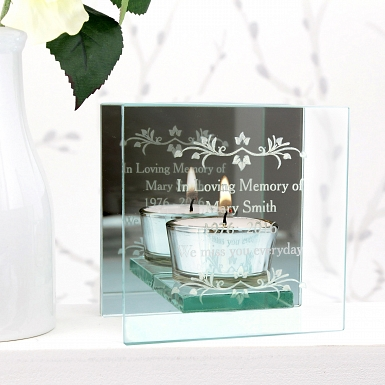 Personalised Sentiments Mirrored Glass Tea Light Holder