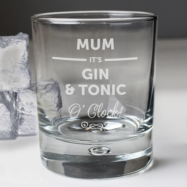 Personalised Its... O'Clock Tumbler Bubble Glass