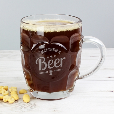 Personalised Beer Label Dimple Tankard Pint Glass