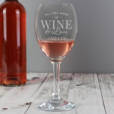 Personalised 'All You Need is Wine' Wine Glass